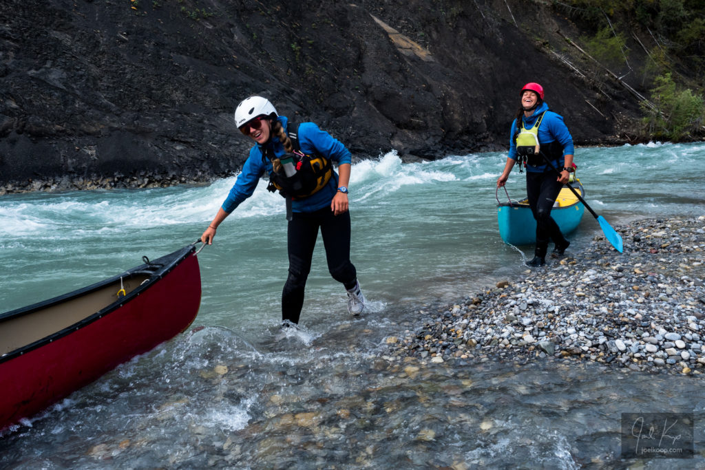Lining Canoes Past Rapids on the Brazeau
